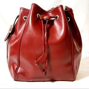 Lancaster Red Bucket Bag Leather with Pouch
